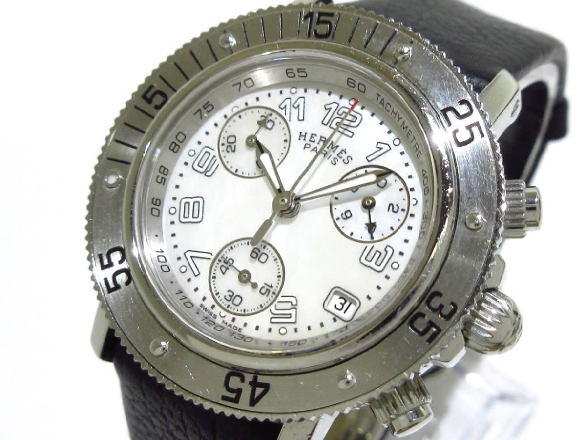 HERMES(エルメス) 腕時計 クリッパーダイバークロノ CL2.310 ボーイズ ホワイトシェル【中古】