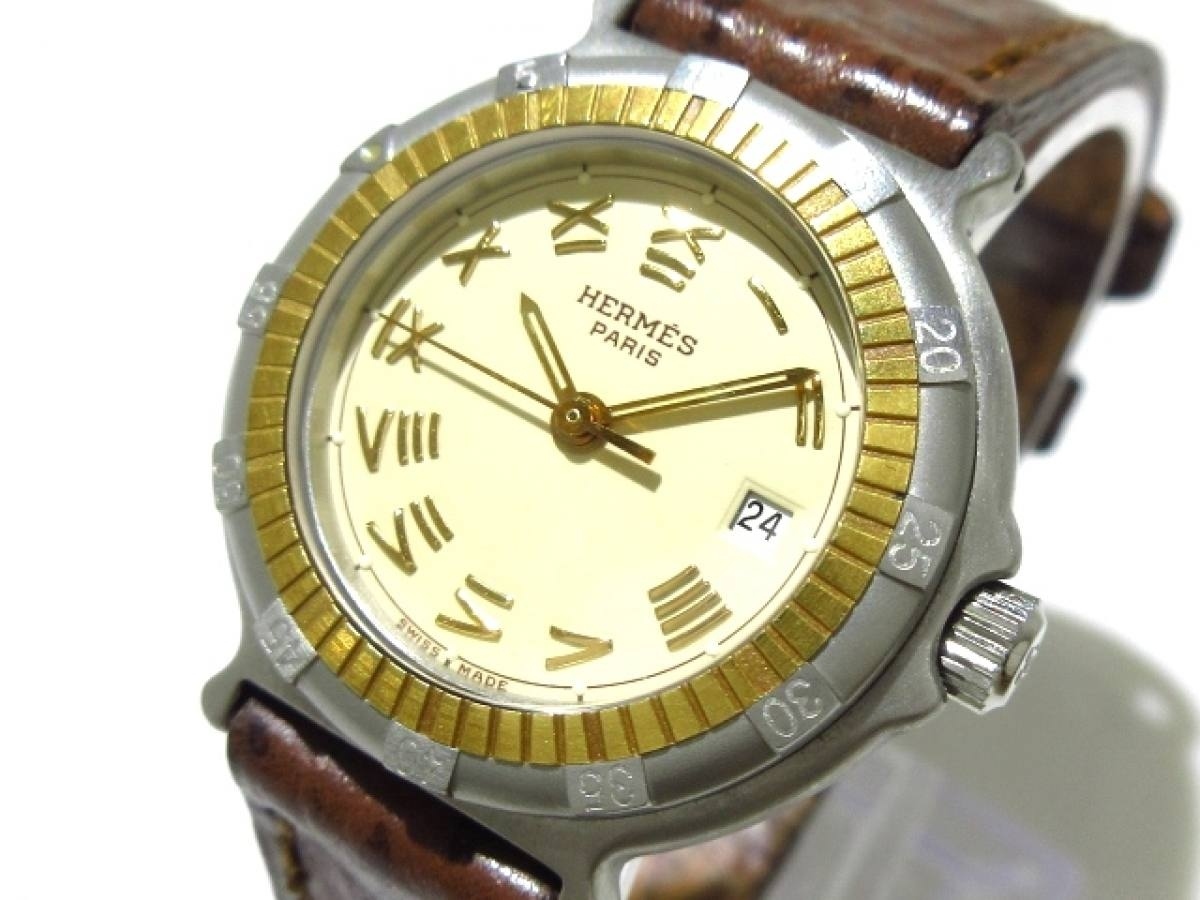 HERMES(エルメス) 腕時計 - レディース 革ベルト ベージュ【中古】