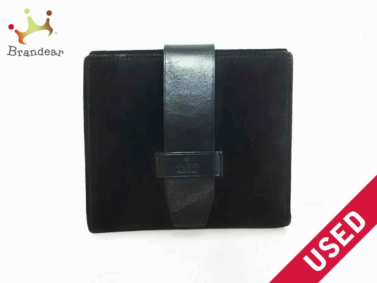 GUCCI(グッチ) Wホック財布 - 101565 黒 スエード×レザー【中古】