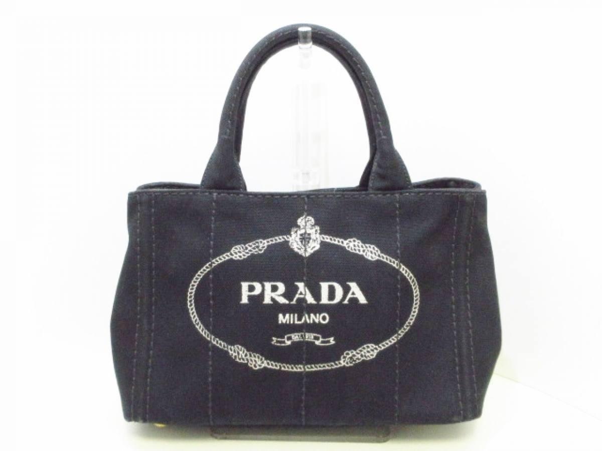 PRADA(プラダ) トートバッグ CANAPA 黒×アイボリー キャンバス【中古】