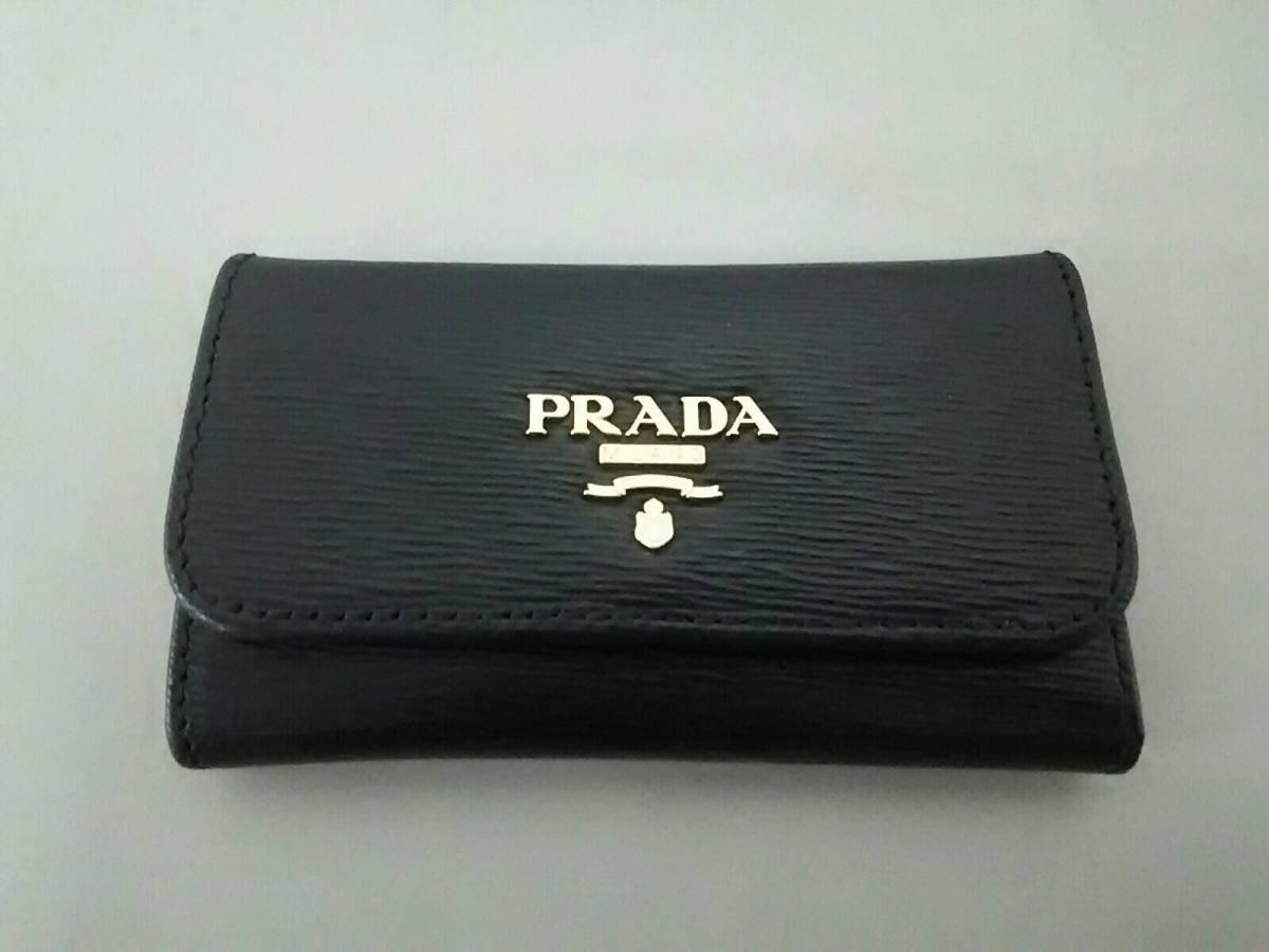 PRADA(プラダ) キーケース美品■ - 1PG222 黒 6連フック レザー【中古】