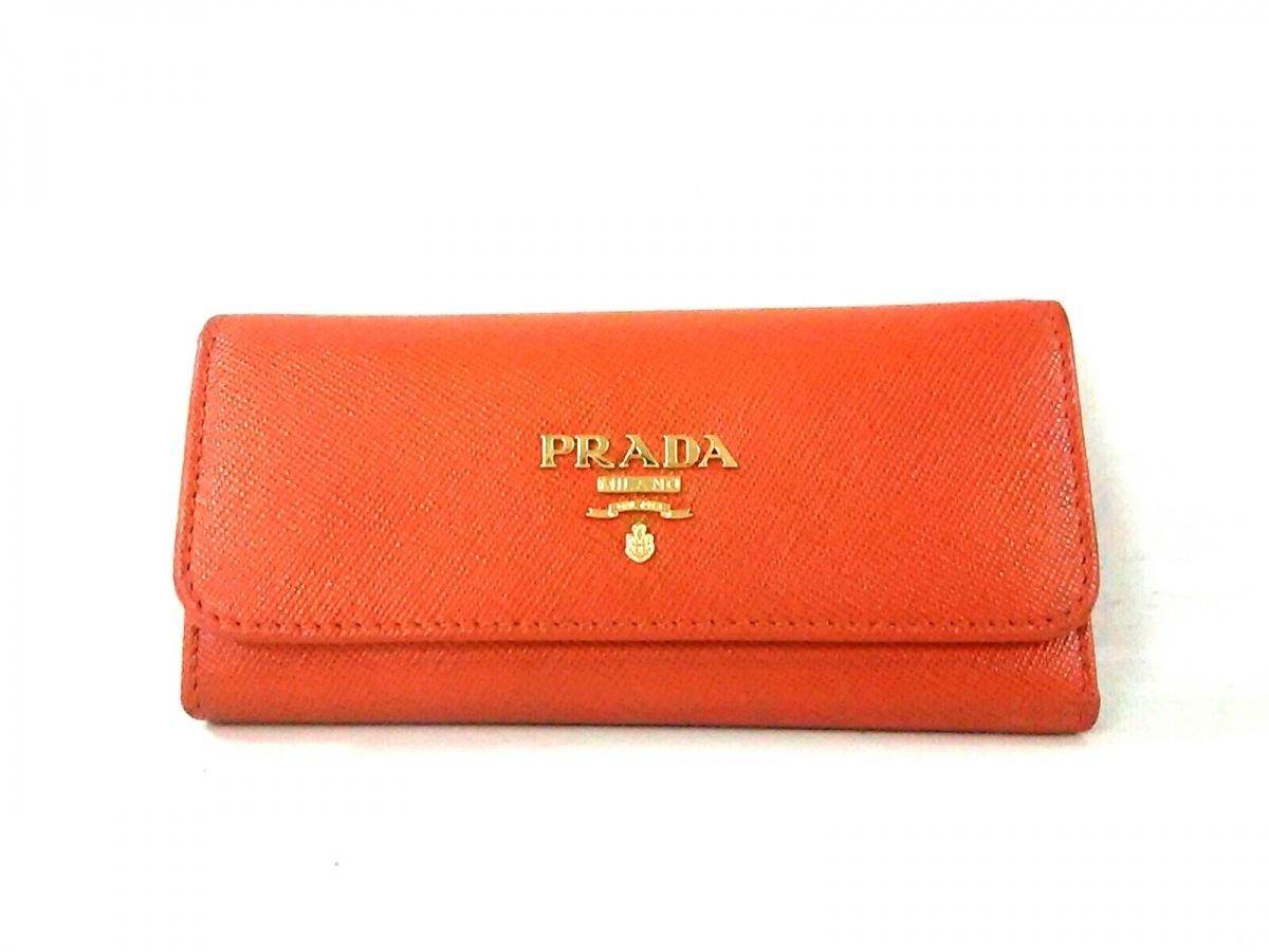 PRADA(プラダ) キーケース - 1M0223 オレンジ 6連フック レザー【中古】