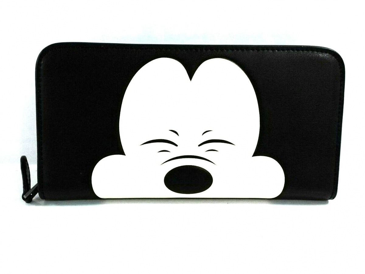 COACH(コーチ) 長財布 - 54000 黒×アイボリー Disney/75周年記念/ラウンドファスナー レザー【中古】