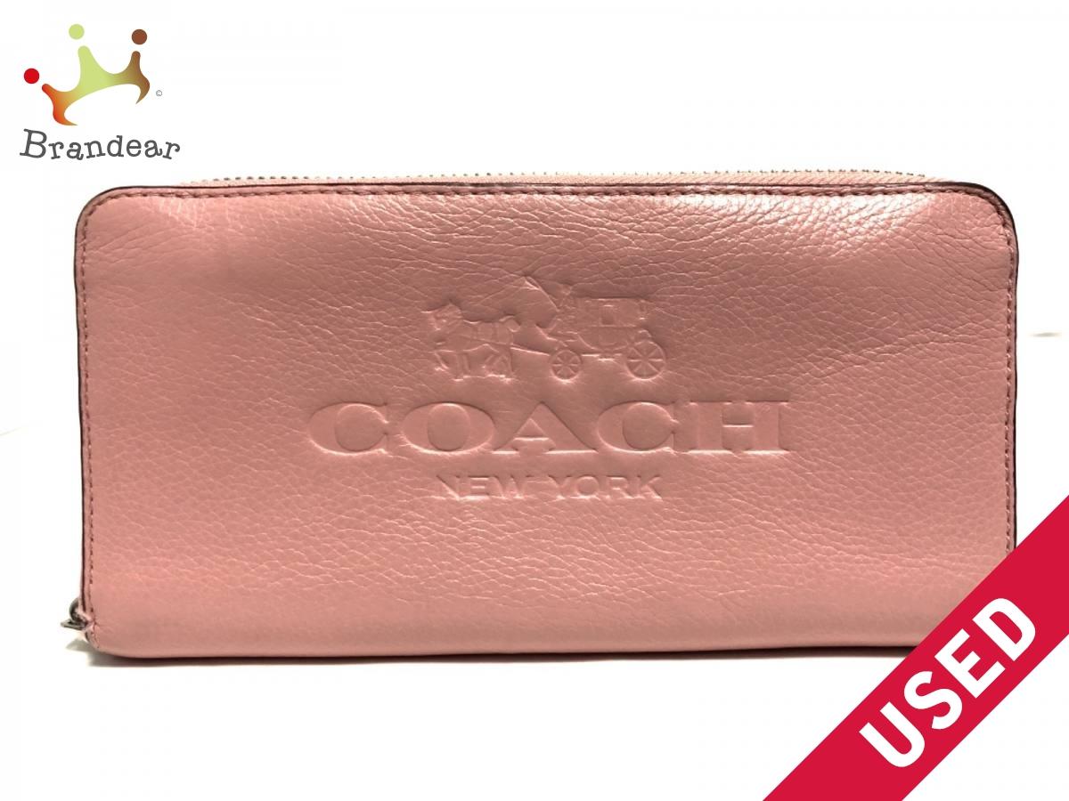 COACH(コーチ) 長財布美品■ ペブルド アコーディオン ジップ F52251 ピンク レザー【中古】