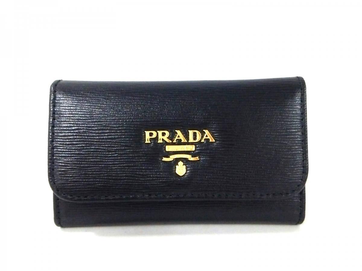PRADA(プラダ) キーケース美品■ - 黒 型押し加工/6連フック レザー【中古】