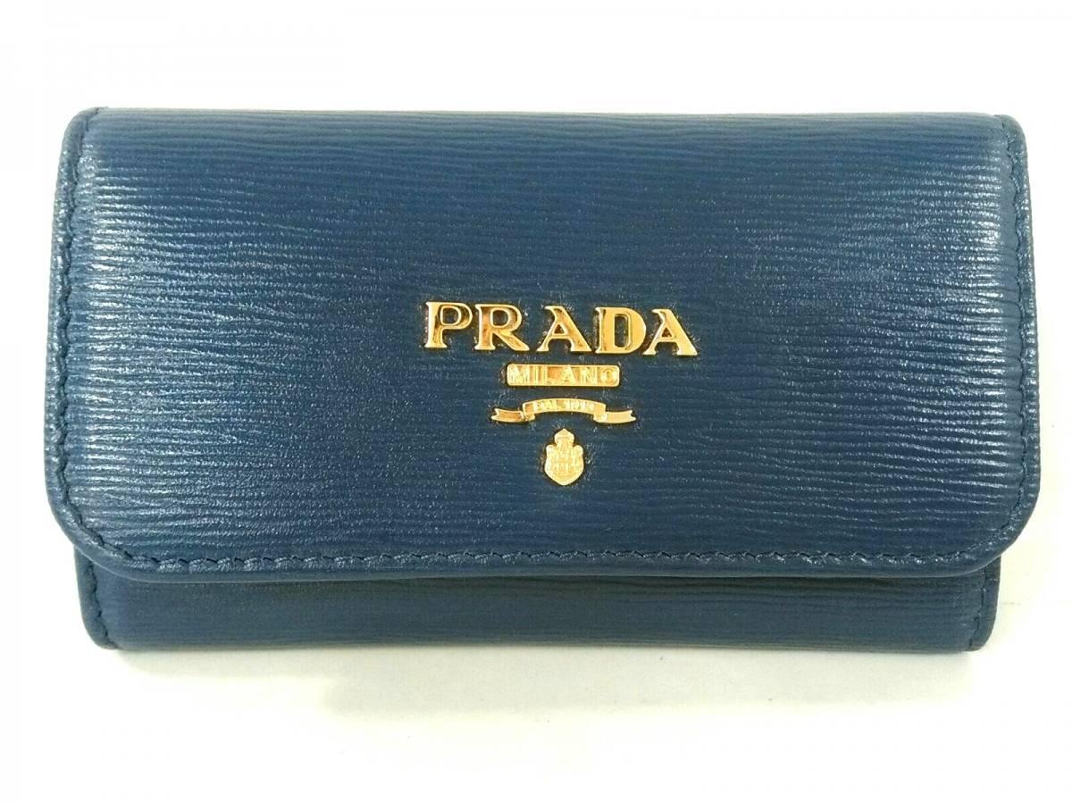 PRADA(プラダ) キーケース美品■ - ネイビー 6連フック/型押し加工 レザー【中古】