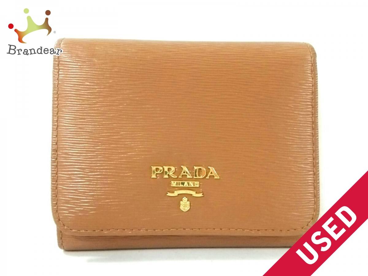 PRADA(プラダ) 3つ折り財布美品■ - 1MH176 ブラウン レザー【中古】