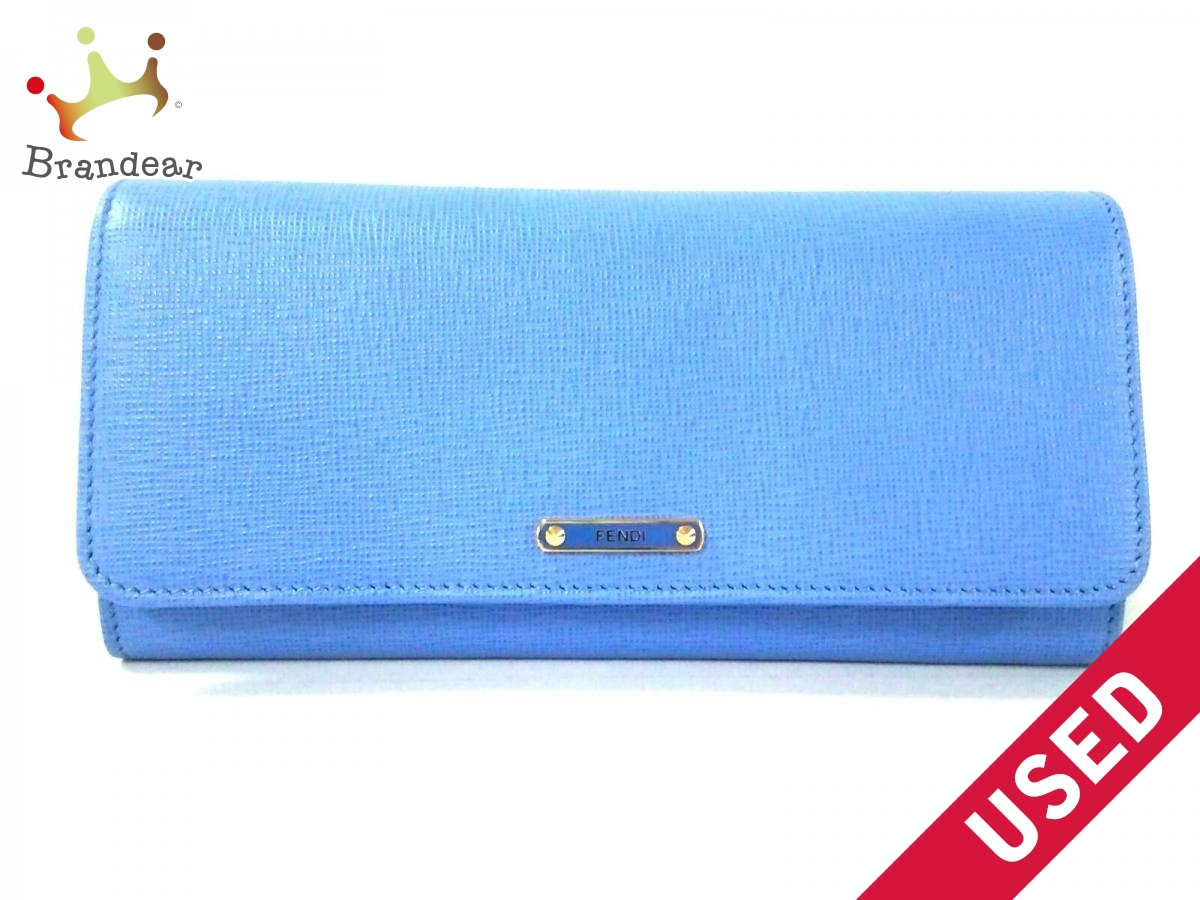 FENDI(フェンディ) 長財布美品■ - 8M0251 ブルー レザー【中古】