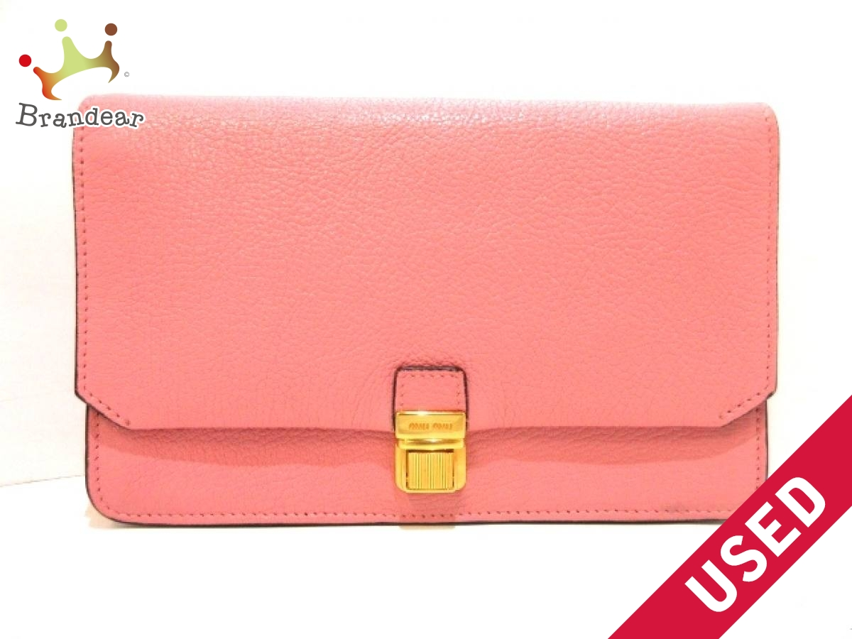 miumiu(ミュウミュウ) 財布美品■ - RT0639 ピンク ショルダーウォレット レザー【中古】