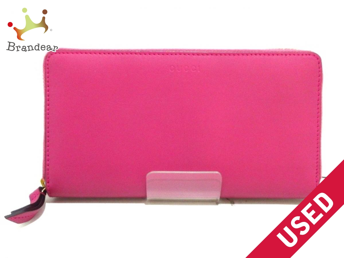 GUCCI(グッチ) 長財布美品■ - 410102 ピンク ラウンドファスナー レザー【中古】