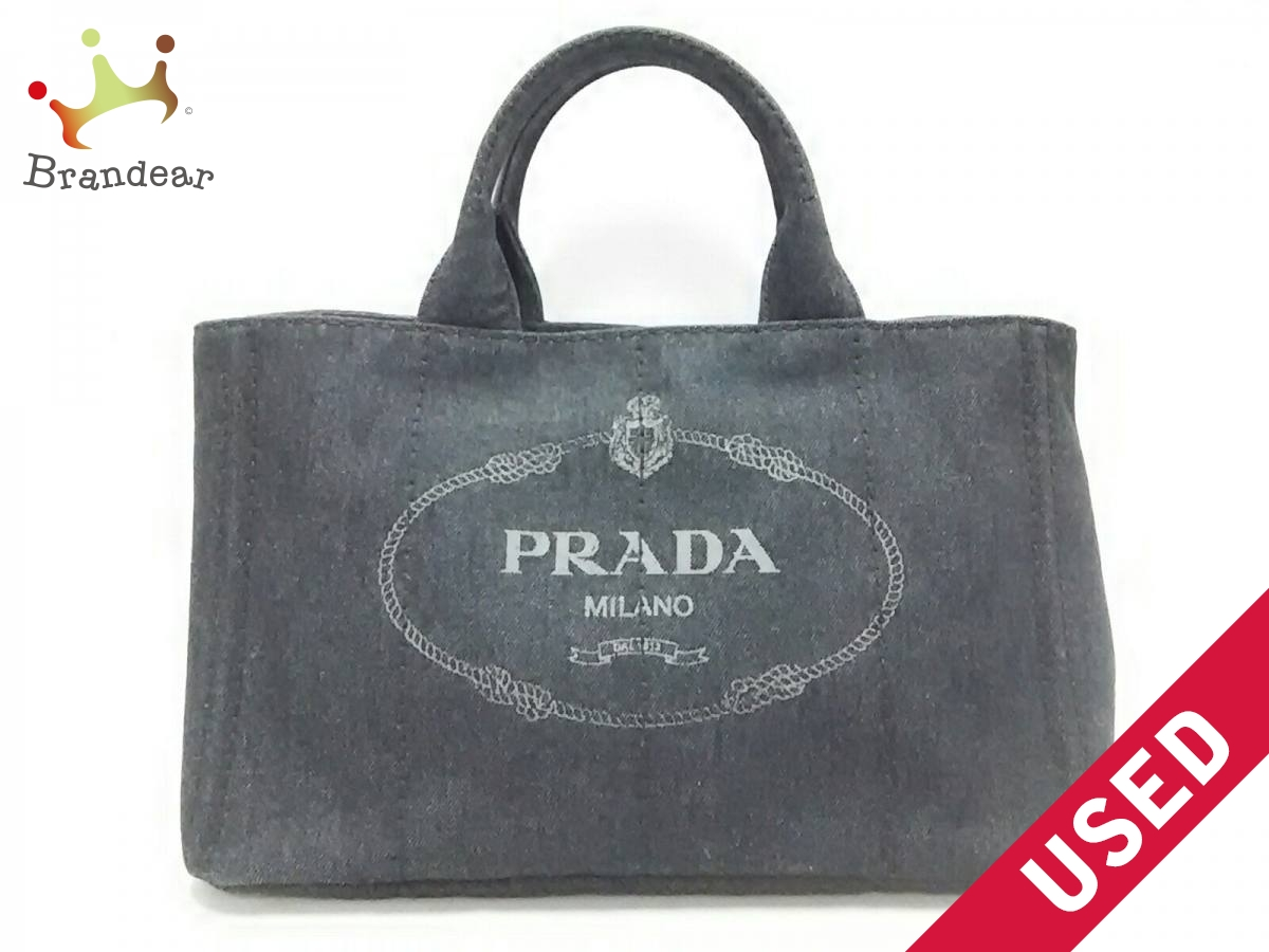 PRADA(プラダ) トートバッグ美品■ CANAPA 1BG642 ダークネイビー デニム【中古】