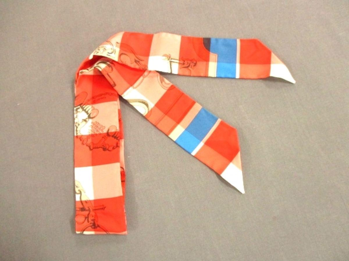 HERMES(エルメス) スカーフ美品■ ツィリー H0632065 レッド×白×マルチ【中古】