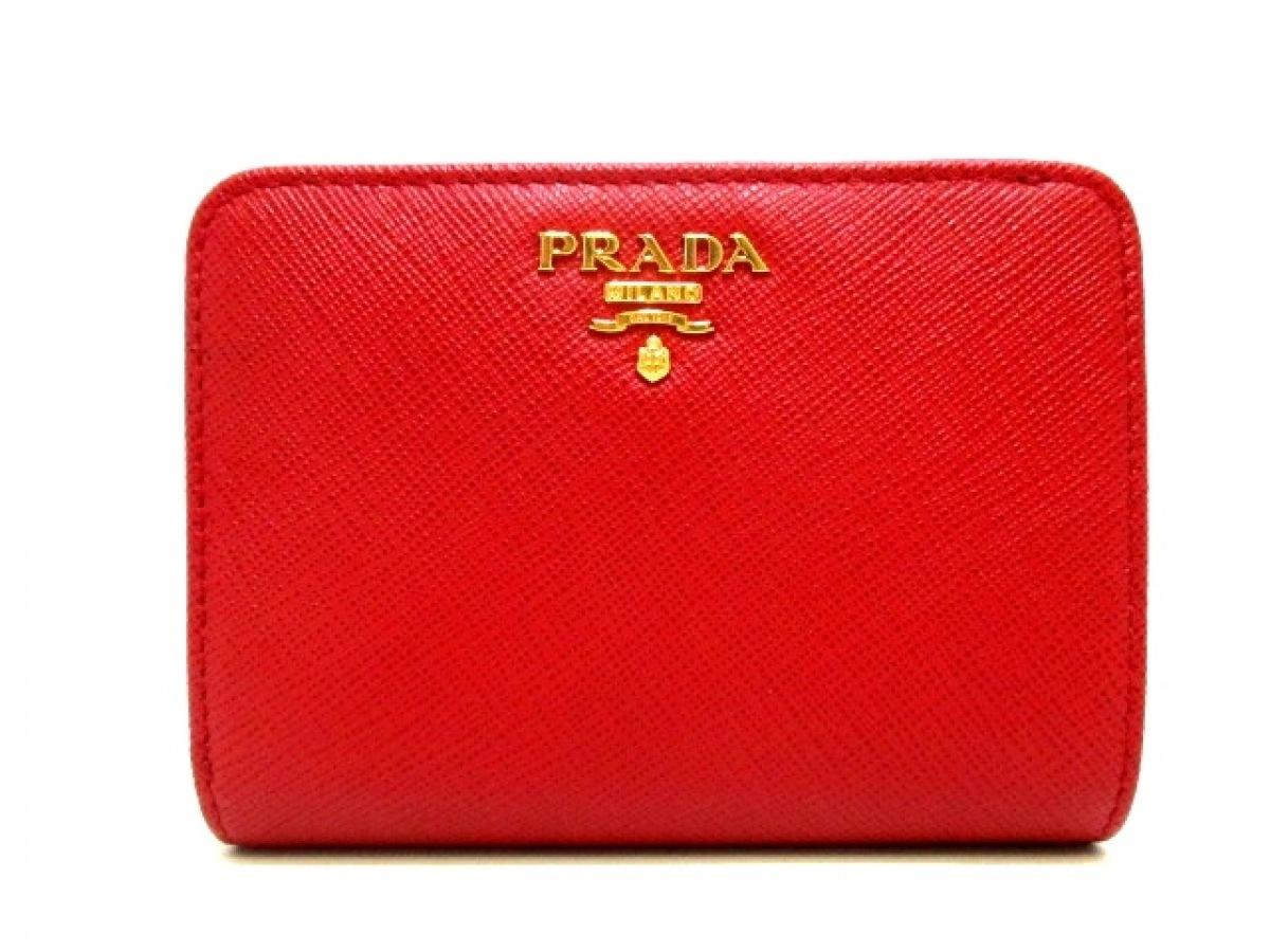 PRADA(プラダ) 2つ折り財布美品■ - レッド レザー【中古】