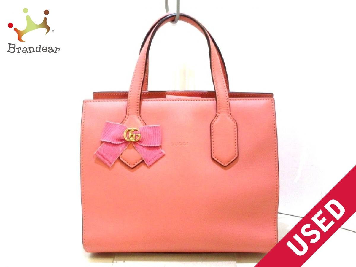 GUCCI(グッチ) トートバッグ GGリボン 443089 ピンク JAPAN EXCLUSIVE レザー【中古】