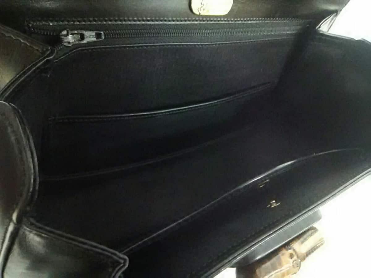 6e9eecb0738c GUCCI(グッチ) ハンドバッグ バンブー 99 黒×ブラウン レザー×バンブー ...