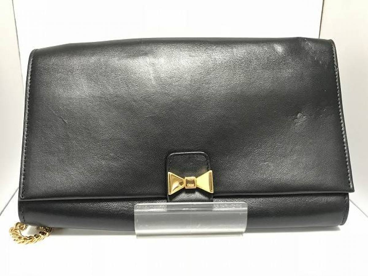 Chloe(クロエ) 財布 - 黒×ゴールド リボン レザー×金属素材【中古】