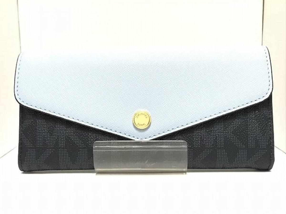 MICHAEL KORS(マイケルコース) 長財布美品■ ダークグレー×ライトブルー PVC(塩化ビニール)【中古】