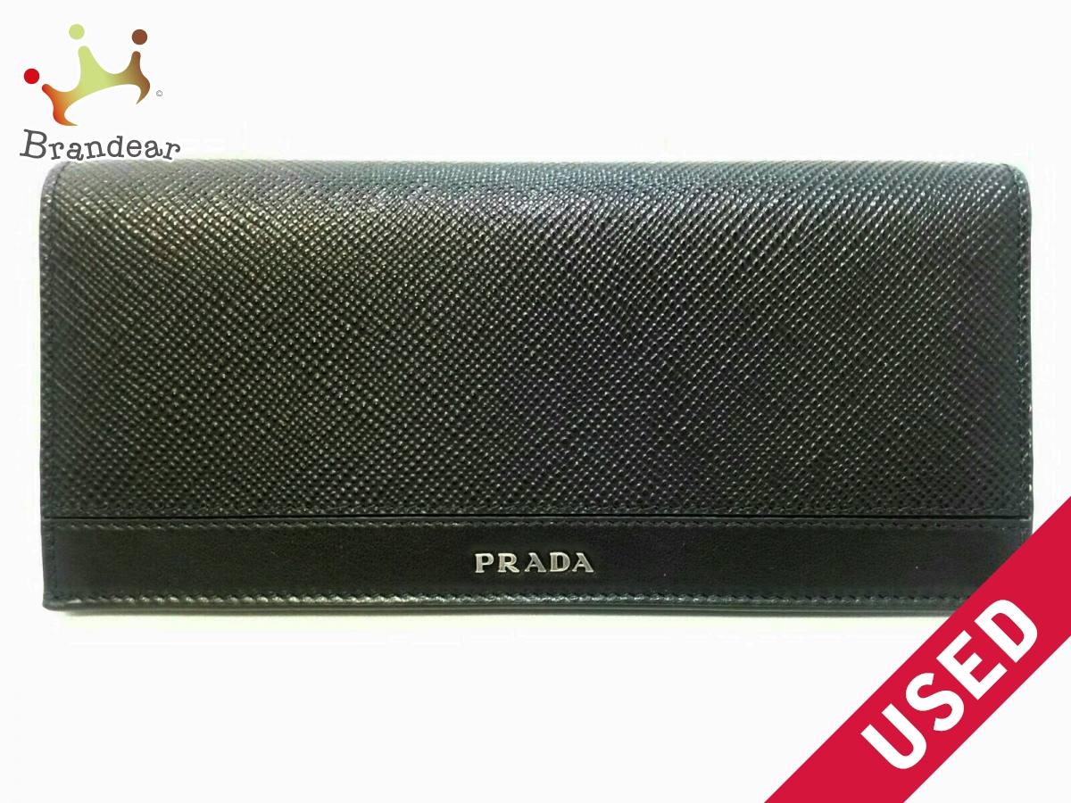 PRADA(プラダ) 長財布美品■ - 黒 PVC(塩化ビニール)×レザー【中古】
