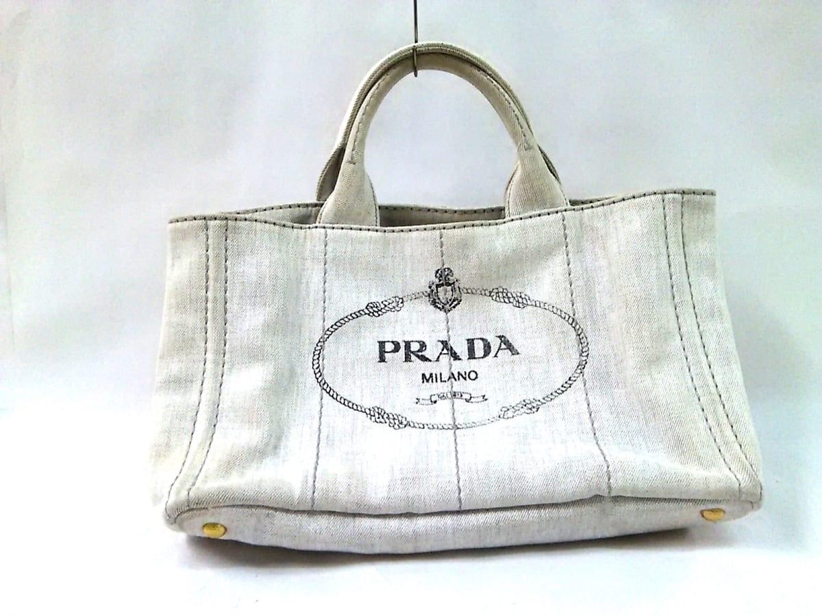 8f0c47f75ea3 PRADA(プラダ) トートバッグ CANAPA B2642B ライトグレー デニム【中古 ...
