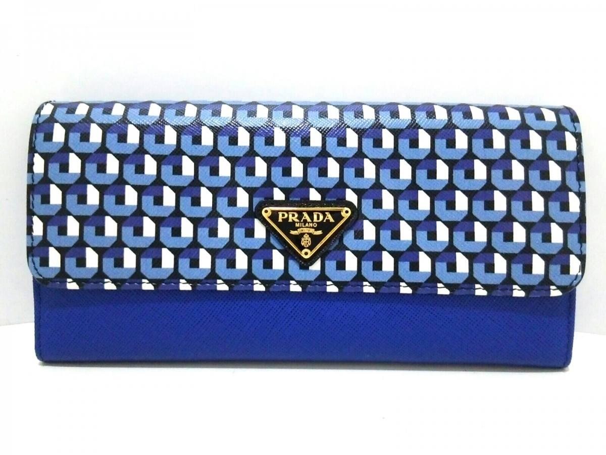 PRADA(プラダ) 長財布 - 9Y0KRB ブルー×黒×マルチ レザー【中古】