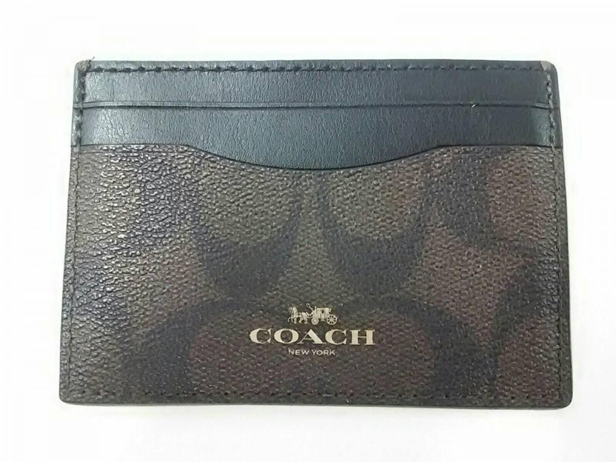 COACH(コーチ) カードケース シグネチャー柄 F63279 ダークブラウン×黒 PVC(塩化ビニール)【中古】