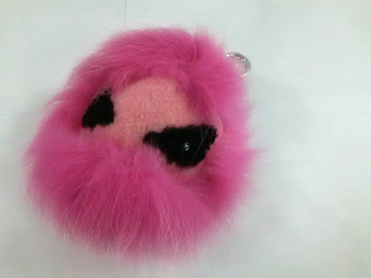 FENDI(フェンディ) キーホルダー(チャーム) バッグバグズ 7AR462 ピンク×黒 モンスターチャーム/キャンディファー フォックスファー×ウール×ラインストーン【中古】