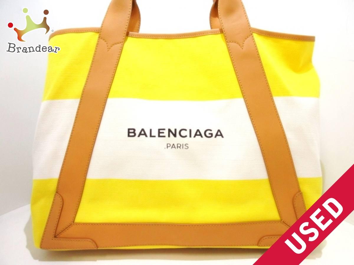 BALENCIAGA(バレンシアガ) トートバッグ ネイビーカバM 339936 イエロー×白×ベージュ キャンバス×レザー【中古】