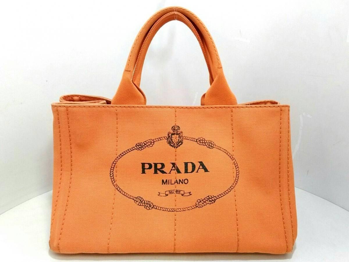 PRADA(プラダ) トートバッグ CANAPA オレンジ×黒 キャンバス【中古】
