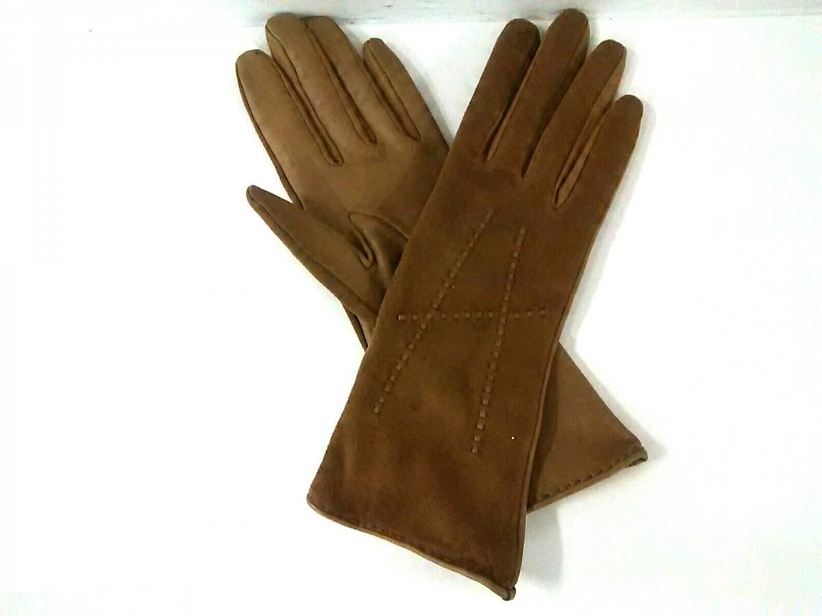 HERMES(エルメス) 手袋 7 レディース ベージュ スエード×シェーブル【中古】