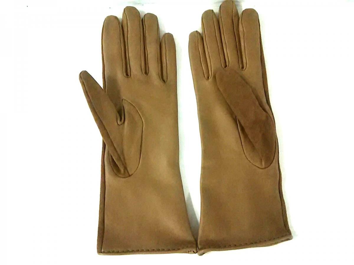 54d4a635fba0 スエード×シェーブル【中古】 ベージュ レディース 7 手袋 HERMES(エルメス)-レディース手袋