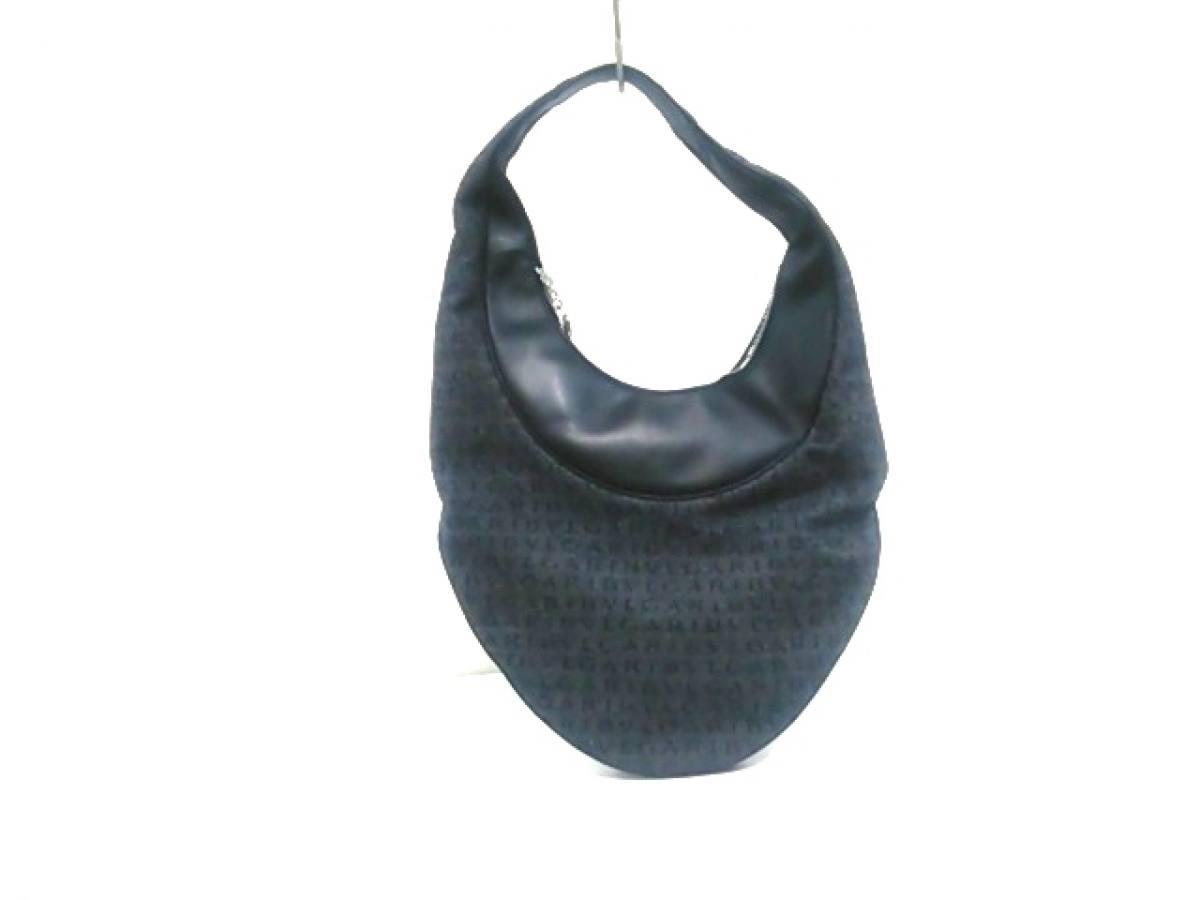 BVLGARI(ブルガリ) ハンドバッグ美品■ ロゴマニア 黒×ダークグレー ジャガード×レザー【中古】