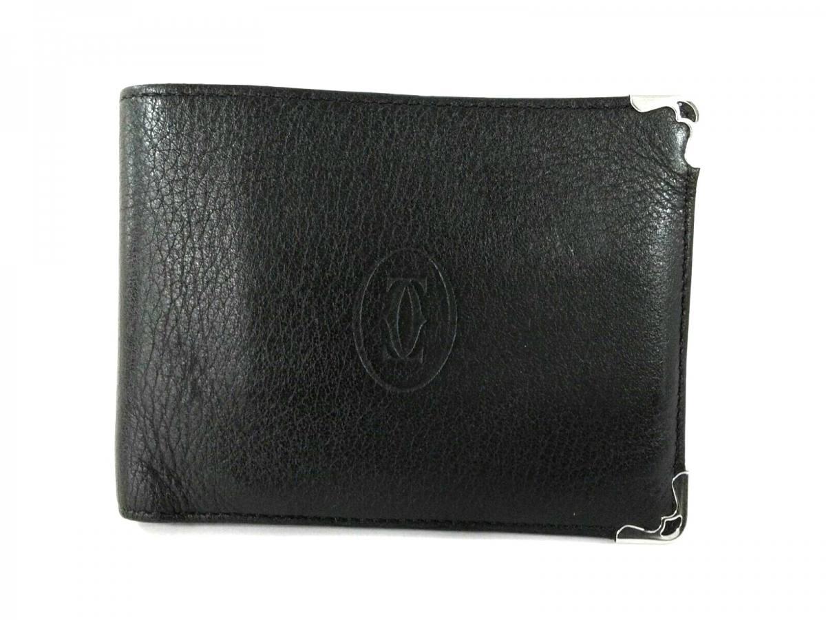 激安 Cartier(カルティエ) 2つ折り財布 カボション 黒 レザー【中古】, アットネットコンタクト cb5e73c7