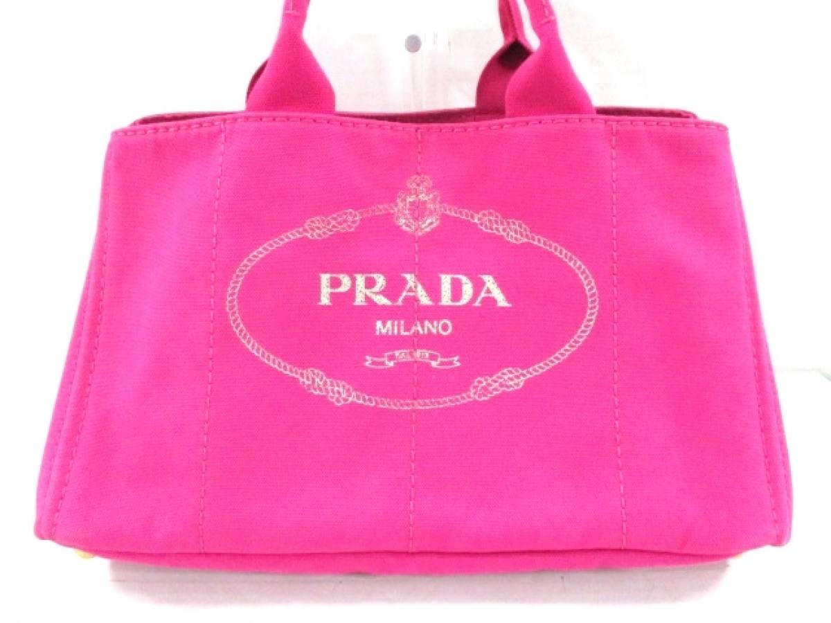 PRADA(プラダ) トートバッグ CANAPA BN1872 ピンク×アイボリー キャンバス【中古】