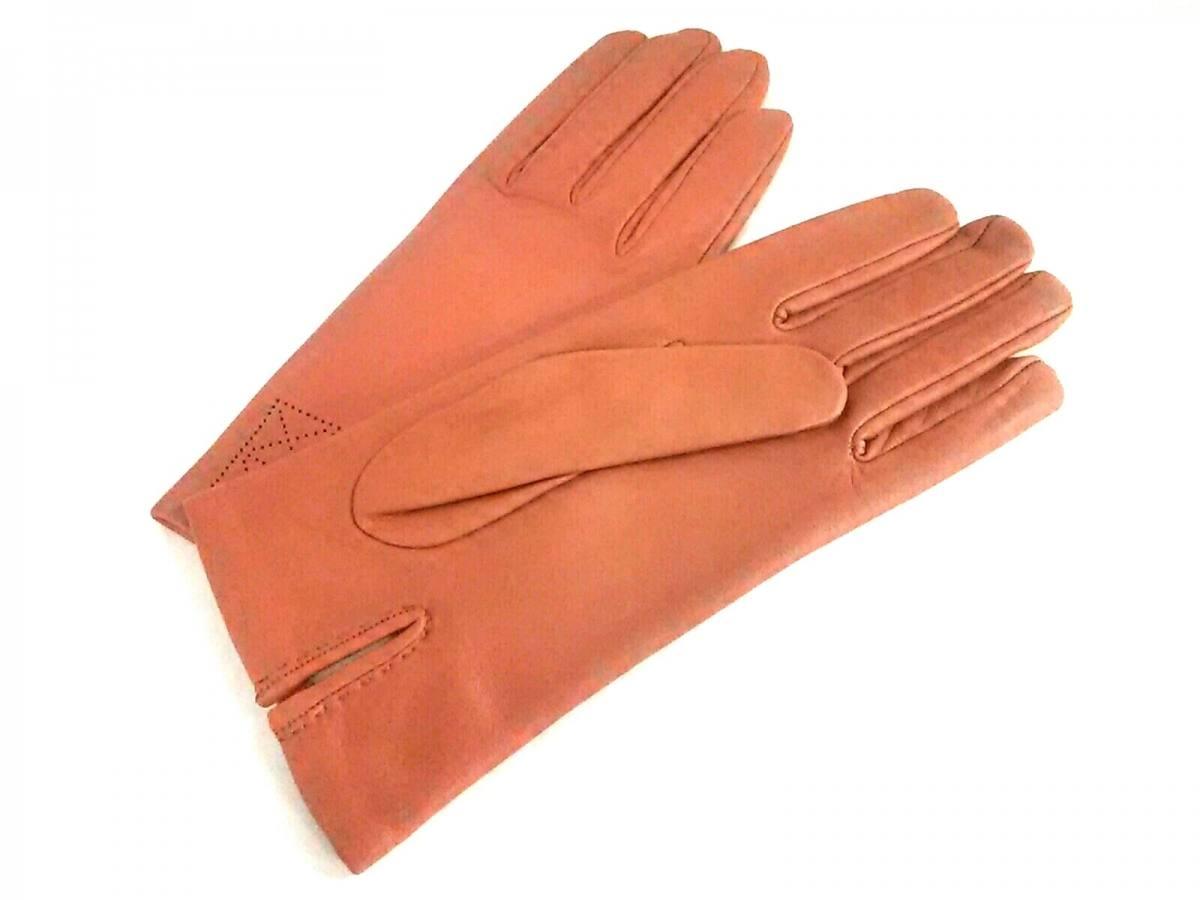 HERMES(エルメス) 手袋 71/2 レディース オレンジ サイズ:7 1/2/パンチング シープスキン【中古】