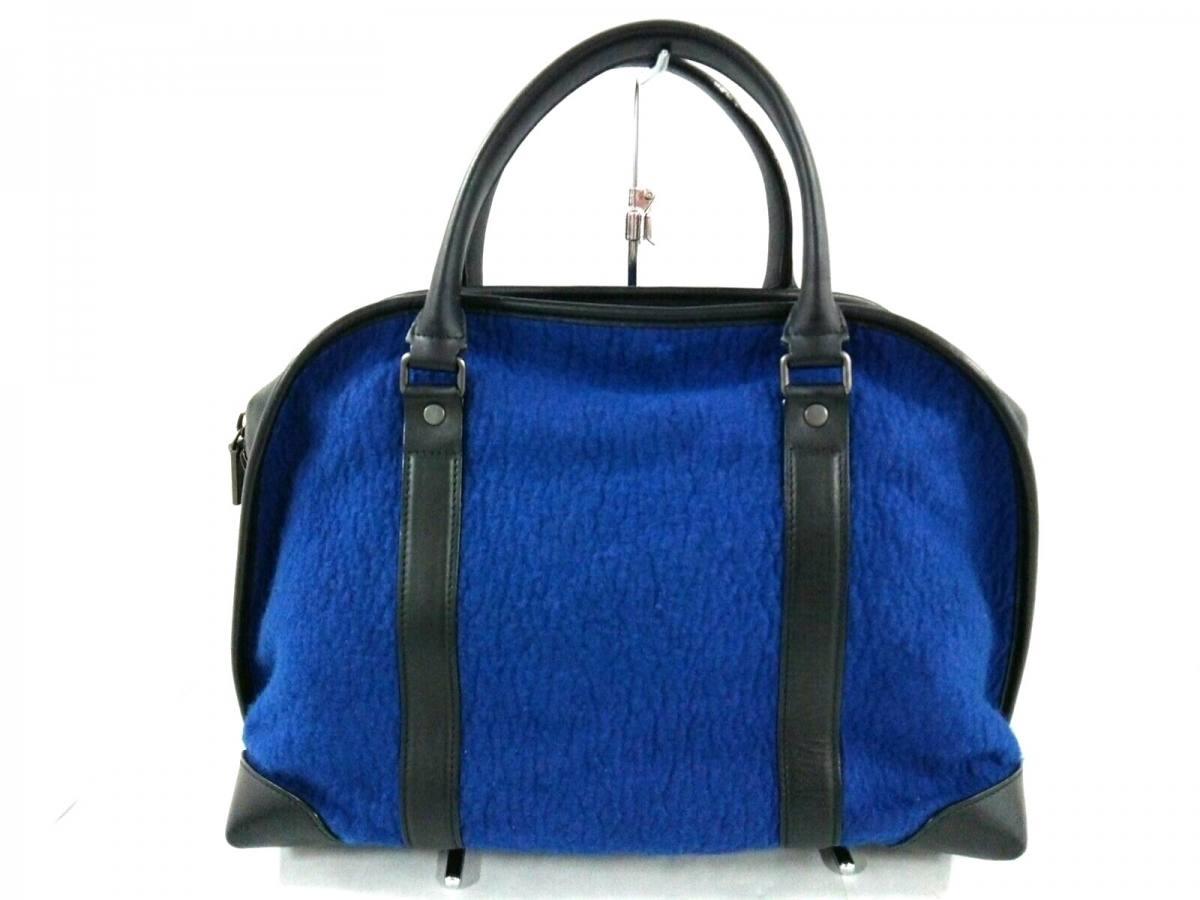 Proenza Schouler(プロエンザスクーラー) ハンドバッグ美品■ ブルー×黒 ウール×レザー【中古】