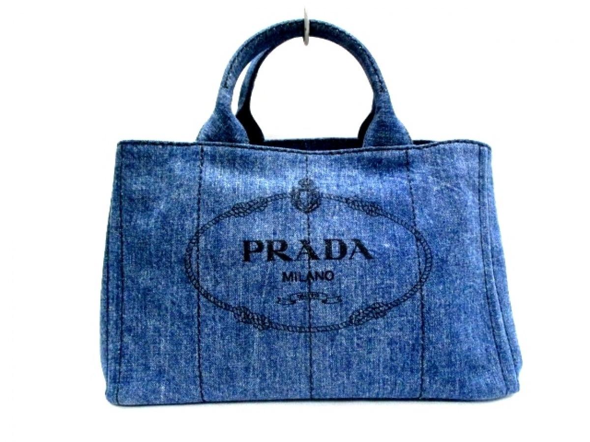 PRADA(プラダ) トートバッグ美品■ CANAPA ネイビー×黒 デニム【中古】