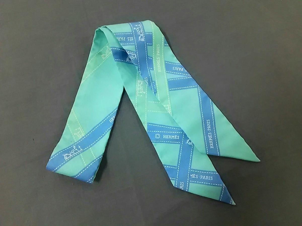 HERMES(エルメス) スカーフ ツィリー ライトブルー×ブルー×マルチ ボルデュックリボン柄【中古】