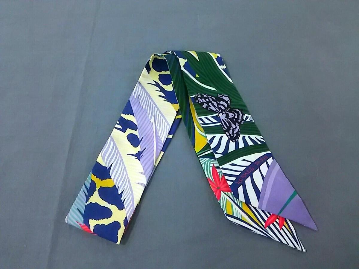 HERMES(エルメス) スカーフ美品■ ツィリー イエロー×ネイビー×マルチ【中古】