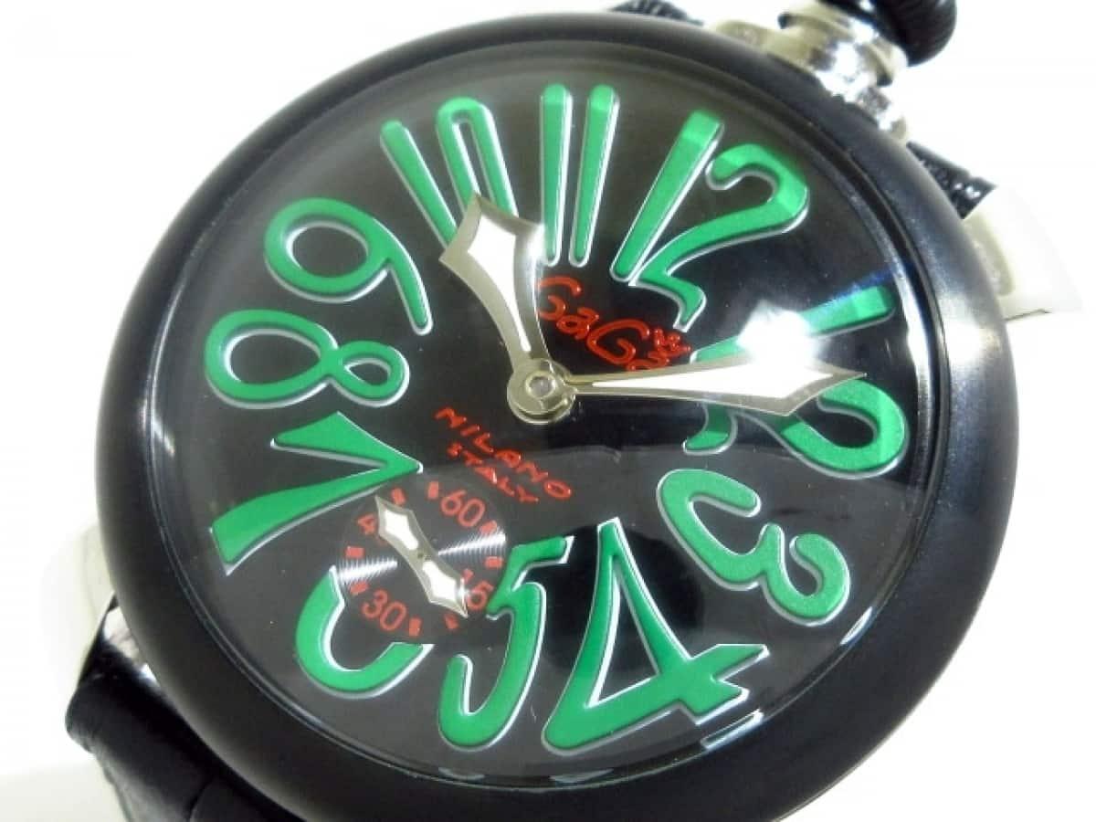 GAGA MILANO(ガガミラノ) 腕時計美品■ マヌアーレ48 N.21820 メンズ 黒×グリーン【中古】