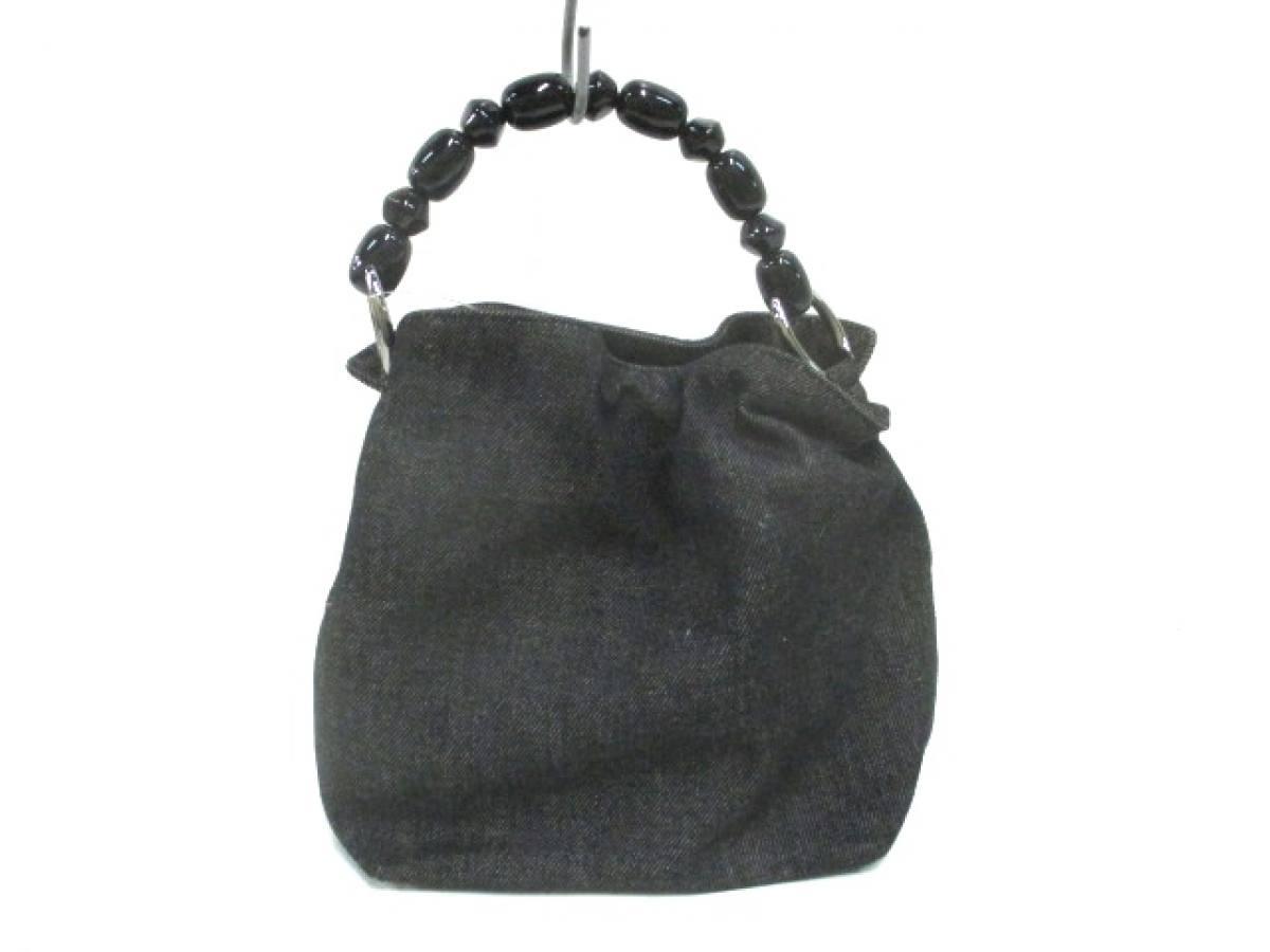 ChristianDior(クリスチャンディオール) ハンドバッグ マリスパール ネイビー×黒 デニム×プラスチック【中古】