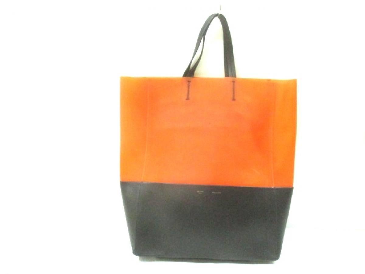CELINE(セリーヌ) トートバッグ ホリゾンタルカバ オレンジ×黒 ラバー×レザー【中古】