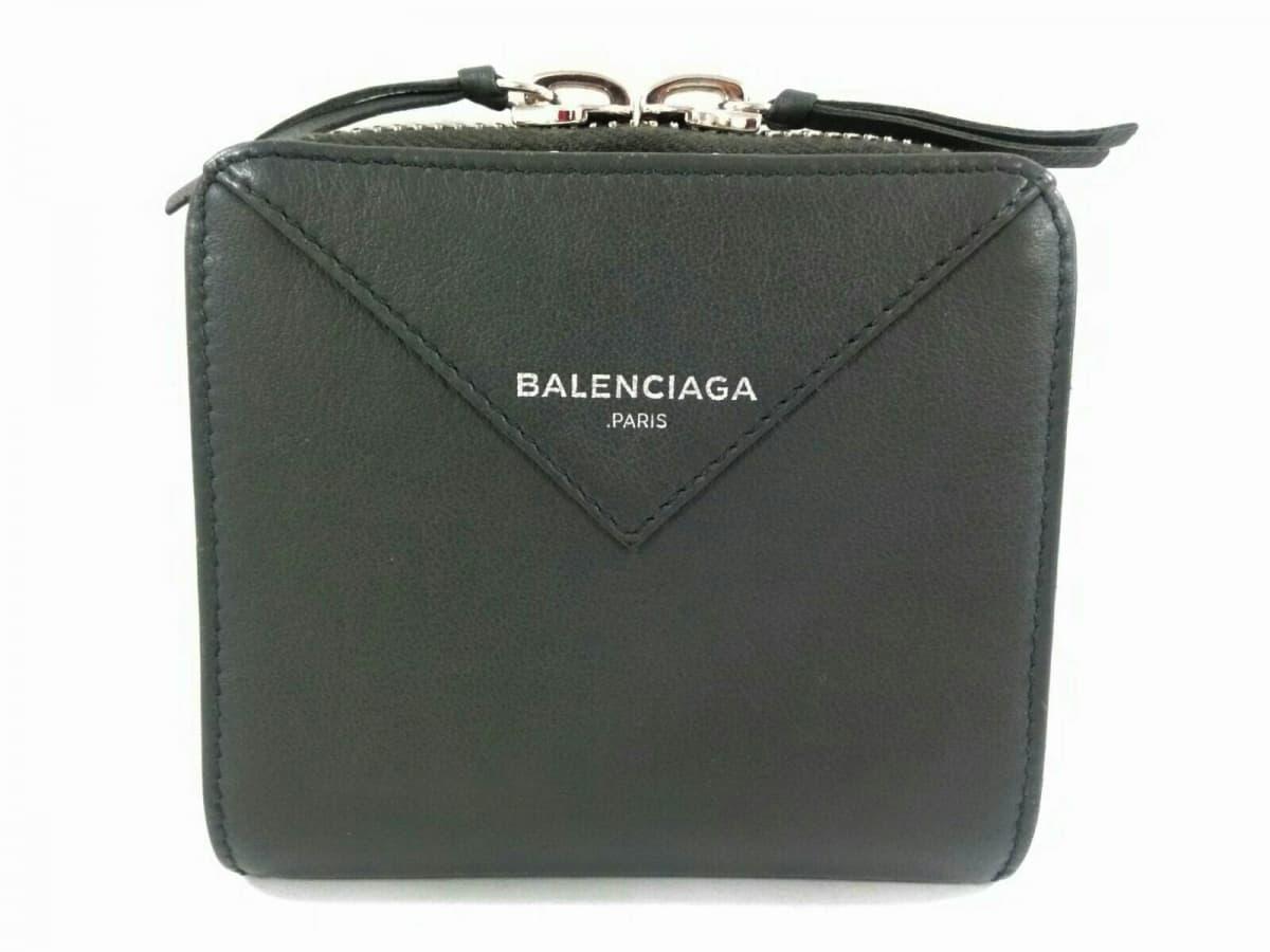 BALENCIAGA(バレンシアガ) 2つ折り財布美品■ ペーパービルフォールド 371662 ダークグレー レザー【中古】