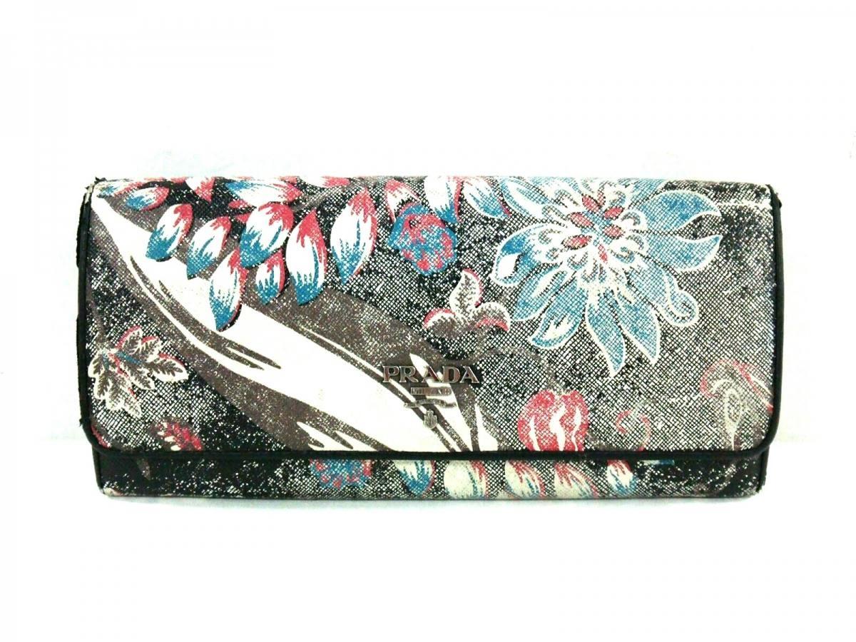 PRADA(プラダ) 財布 - 黒×アイボリー×マルチ チェーンウォレット/花柄 レザー【中古】