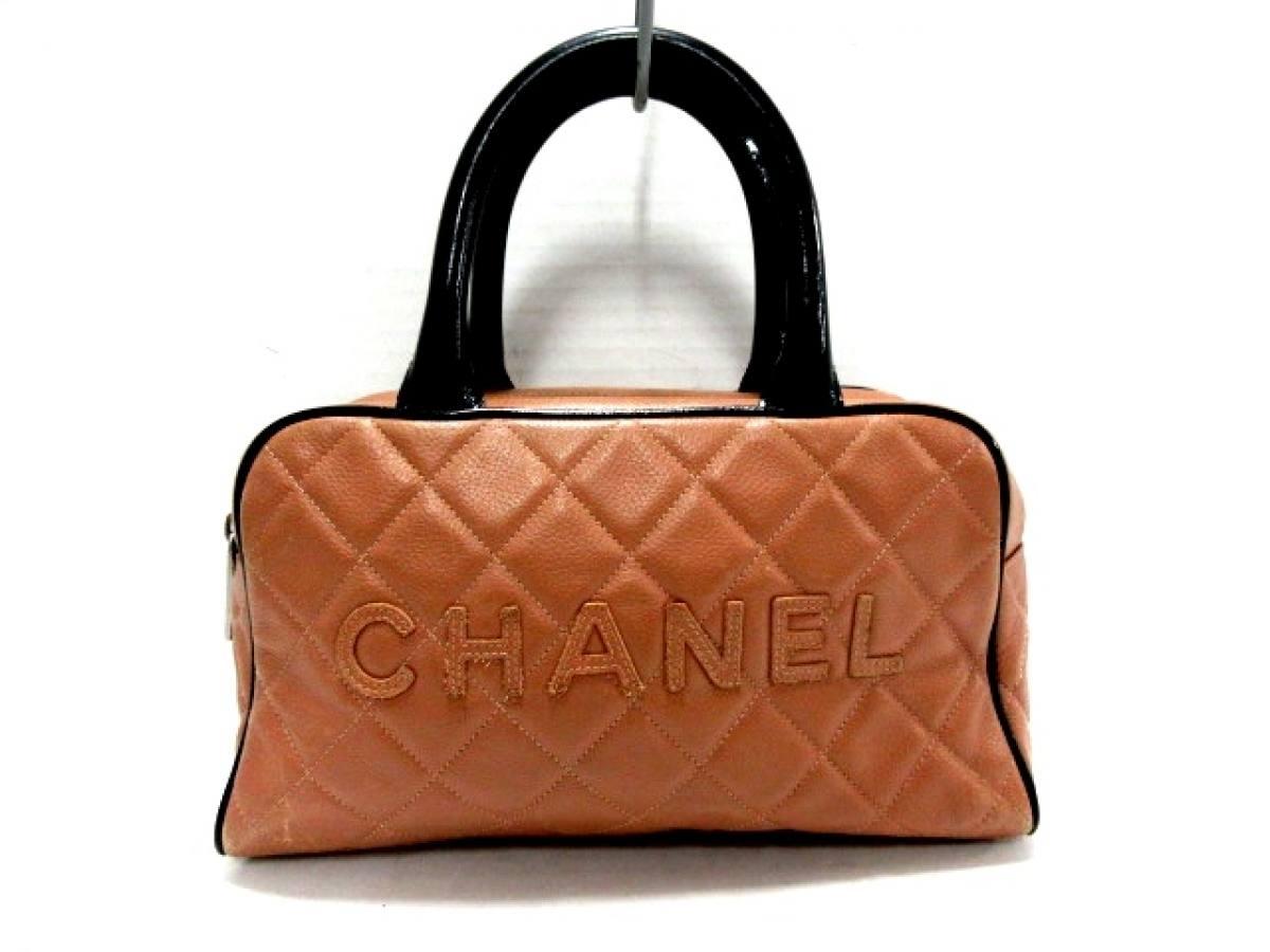 CHANEL(シャネル) ハンドバッグ マトラッセ ライトブラウン×黒 キャビアスキン×エナメル(レザー)【中古】