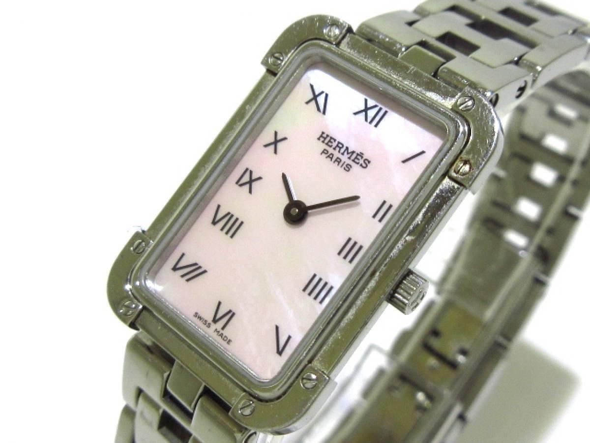 HERMES(エルメス) 腕時計 クロアジュール CR2.210 レディース ピンクシェル【中古】