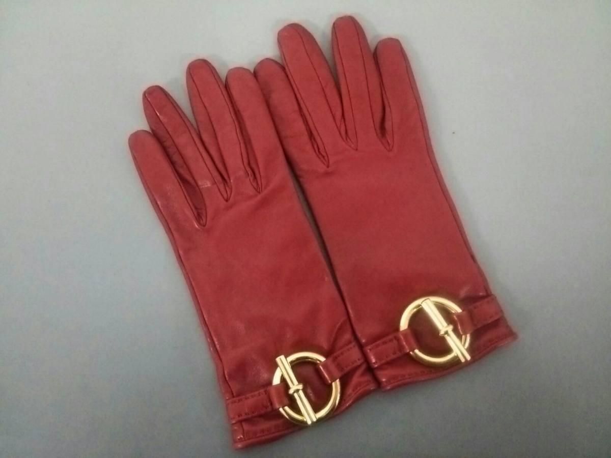 HERMES(エルメス) 手袋 7 レディース ボルドー レザー【中古】