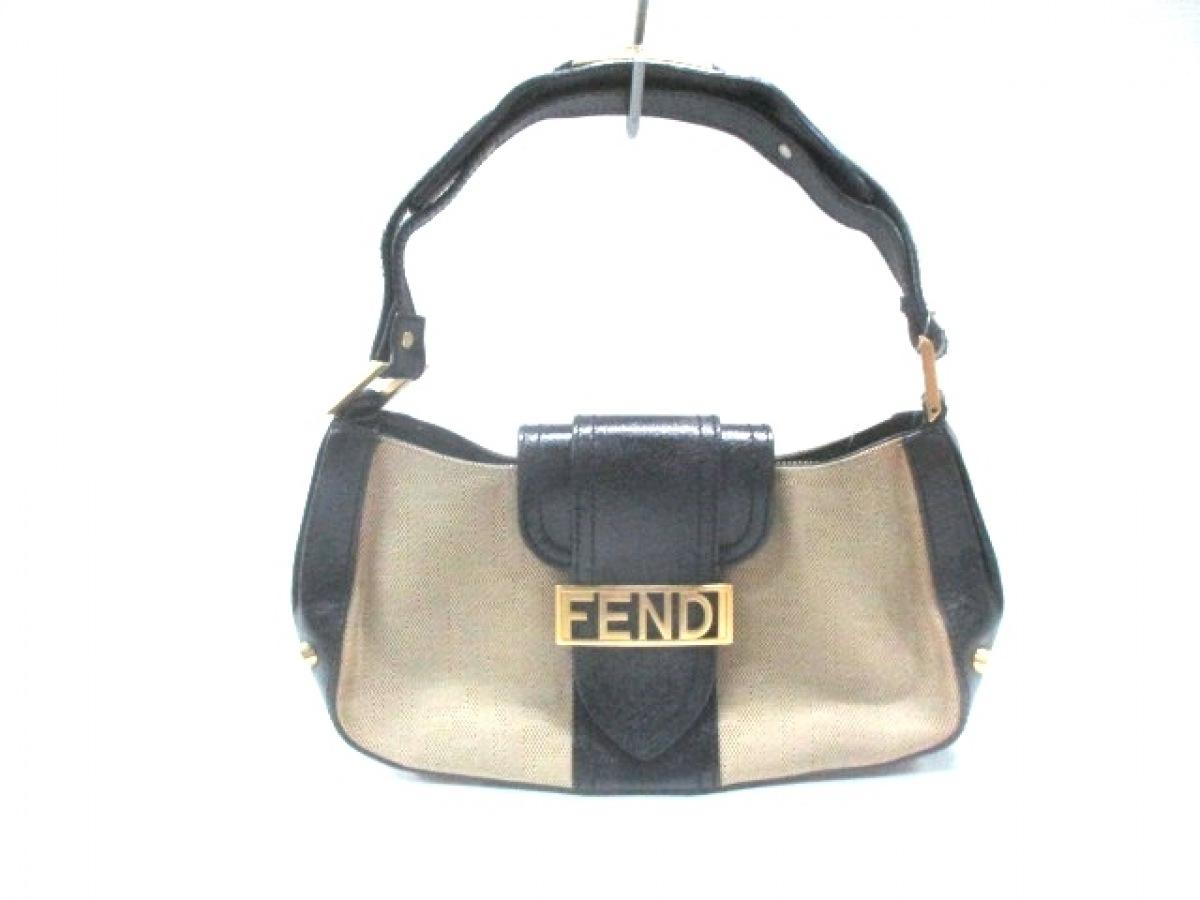FENDI(フェンディ) ハンドバッグ ズッカ柄 8BR396 ベージュ×黒 スタッズ ジャガード×レザー【中古】