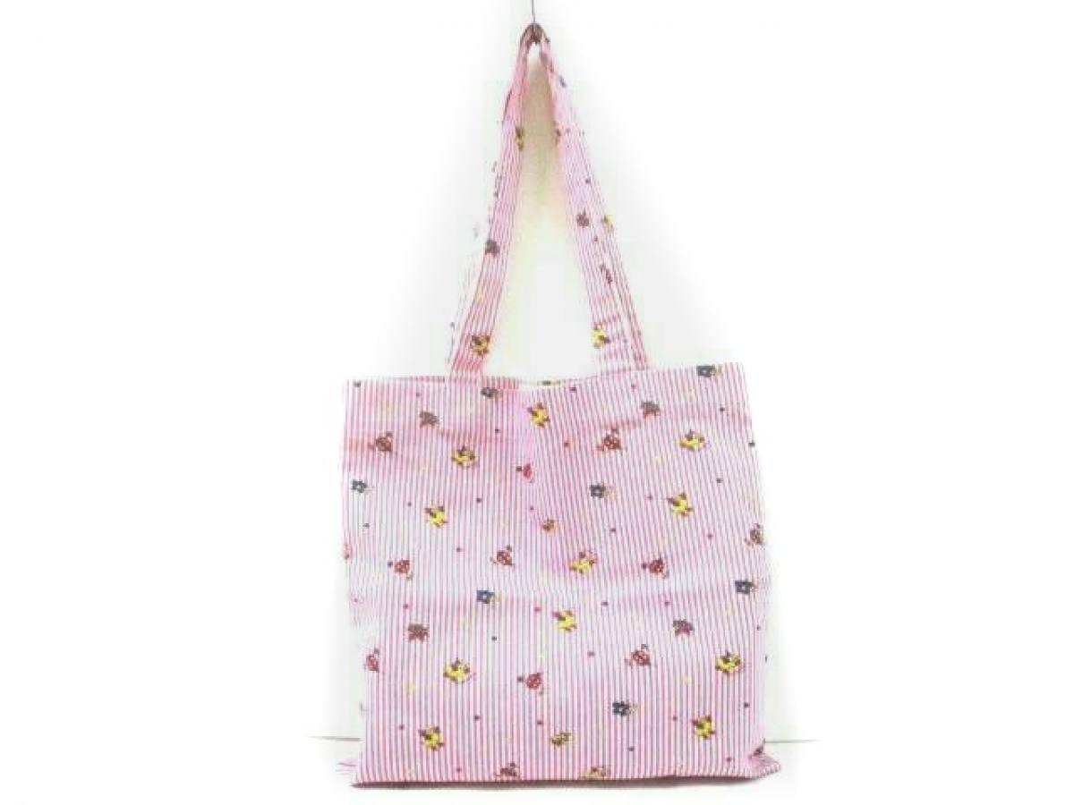 GUCCI(グッチ) トートバッグ - - ピンク×白×マルチ コットン【中古】