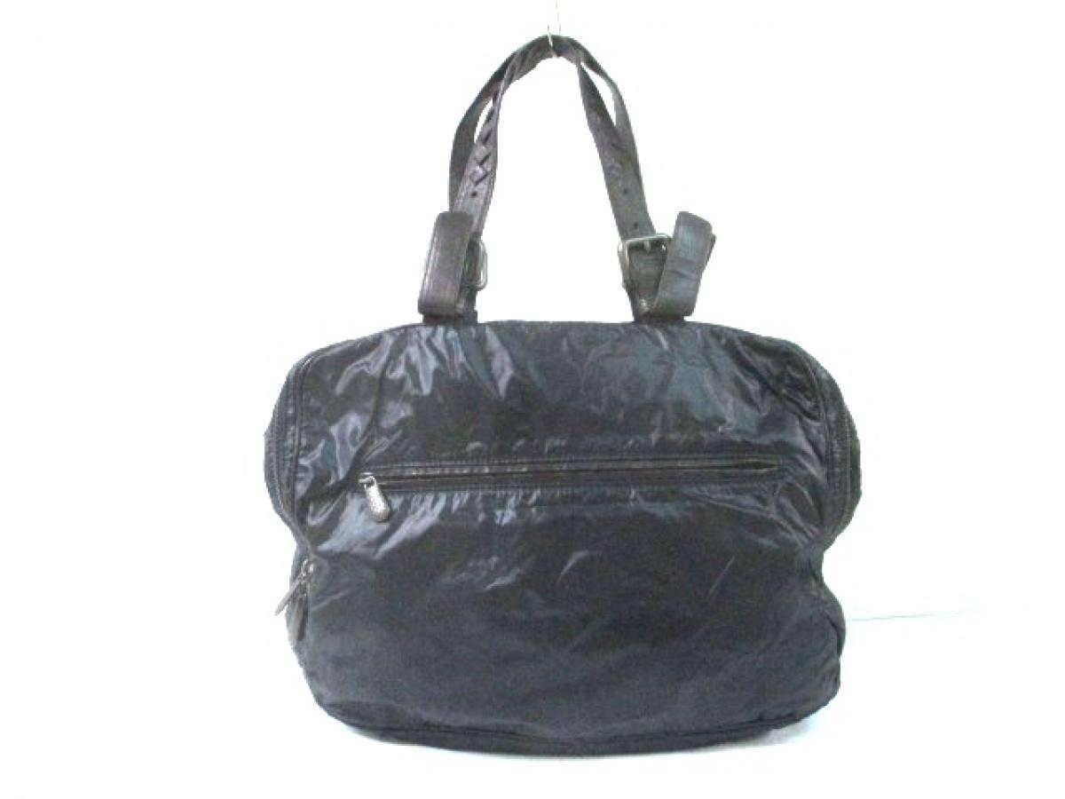 BOTTEGA VENETA(ボッテガヴェネタ) ハンドバッグ - 245177 黒×ダークブラウン ナイロン×レザー【中古】