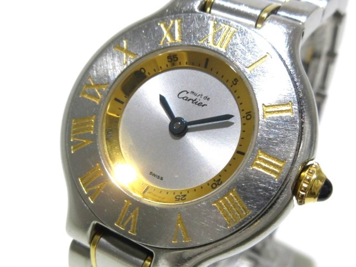 Cartier(カルティエ) 腕時計 マスト21 - レディース シルバー×ゴールド【中古】